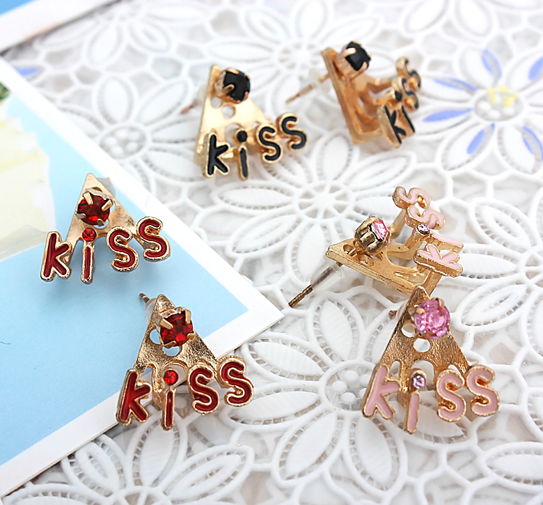 Set Of X Pairs Crystal Kiss Earring Together Fashion Studs For Womens